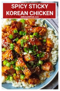 This Spicy Sticky Korean Chicken is savory, sticky and super spicy! Perfectly marinated chicken and tossed in a spicy Korean gochujang sauce, serve this Spicy Sticky Korean Chicken over rice for the perfect easy chicken dinner. | A Wicked Whisk #koreanchicken #koreanchickenmarinade #koreanchickenrecipe #spicykoreanchicken #spicykoreanchickenrecipes #koreanchickenrecipesimple #koreanchickenrecipesauces #stickykoreanchicken #koreanchickenandrice #koreanchickengochujang