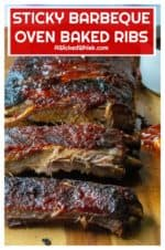 Sticky Barbeque Oven Baked Ribs are tender oven baked ribs smothered in a spicy sweet Asian inspired sauce that will have you licking your fingers and reaching for more. Baked in the oven and slathered in a homemade barbeque sauce, these Sticky Barbeque Oven Baked Ribs are the perfect no-fuss way to enjoy baked ribs. | A Wicked Whisk #ovenbakedribs #ovenbakedribseasy #ovenbakedribsinfoil #ovenbakedribsfalloffthebone #ovenbakedribs #ovenbakedribspork #asianbbqribs #asianbbqsauce