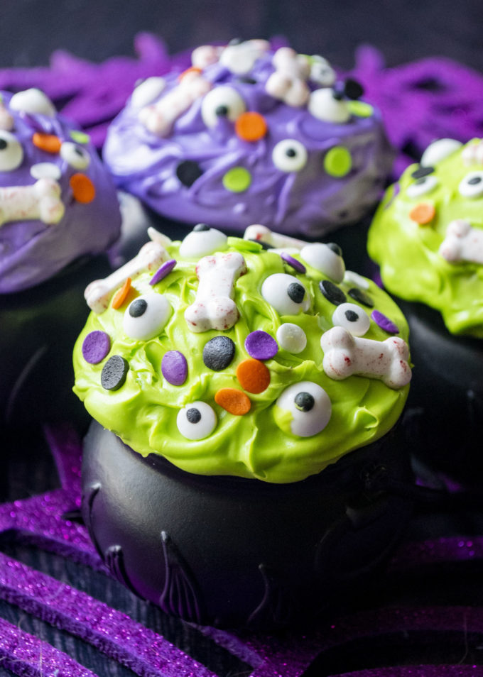 cauldron cupcake with green frosting