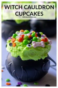 Witch Cauldron Halloween Cupcakes are moist dark chocolate cupcakes, fluffy buttercream frosting and ghoulish sprinkles all served up in a cute witches cauldron. Easy, cute and ghoulishly delicious makes these the perfect Halloween cupcakes. | A Wicked Whisk #cauldroncupcakes #witchcauldroncupcakes #cauldroncupcakeswitches #cauldroncupcakeholders #witchcupcakeseasy #witchcupcakeshalloween #halloweencupcakes #halloweencupcakeseasy #witchcupcakesideas