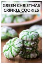 Green Christmas Crinkle Cookies are tasty, soft baked green cookies made from a store bought cake mix, eggs and butter. Easy to make and fun to color, these crinkle cookies are the perfect Christmas cookies to share with family and friends! | A Wicked Whisk #christmascrinklecookies #christmascrinklecookieseasyrecipes #christmascrinkles #christmascrinklecookiesrecipes #greencrinklecookies #greencrinklecookiesrecipe #greencrinklecookiescakemixes #greencookies #greencookieschristmas
