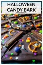 Halloween Candy Bark is a quick and easy chocolate bark recipe and a fun and festive way to make the most of any leftover Halloween candy. | A Wicked Whisk #halloweencandybark #halloweencandybarkideas #halloweencandybarkrecipes #halloweencandybarktreats #halloweenchocolatebark #halloweenchocolatebarkrecipes #halloweenchocolatebarkcandycorn #halloweencandy #halloweencandyideas #chocolatebark #chocolatebarkrecipes #chocolatebarkeasy
