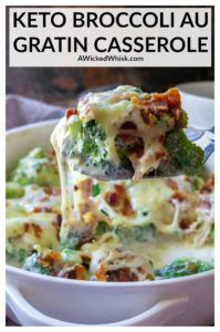 Keto Broccoli Au Gratin Casserole is a creamy broccoli casserole made with fresh broccoli, crispy bacon, melted cheese and served up in a delicious garlic herb sauce. Ready in just 30 minutes, this is the perfect low-carb, keto-friendly side dish to hit your dinner table. | #ketobroccoliaugratin #ketobroccoliaugratinrecipes #ketobroccolicasserole #ketobroccolicasserolelowcarbrecipes #ketobroccolicasseroleeasy #ketobroccolicasserolewithbacon #ketobroccolicheesecasserole #ketosidedishes