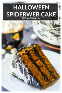 This Halloween Spiderweb Cake is a perfectly spiced and moist pumpkin cake with black chocolate buttercream frosting and covered with marshmallow spiderweb topping. The perfect spooky Halloween cake to celebrate the season. | A Wicked Whisk #spiderwebcake #spiderwebcakemarshmallow #spiderwebcakehalloween #spiderwebcakedesign #halloweenspiderwebcake #marshmallowspiderwebs #marshmallowspiderwebcake #halloweencake #halloweencakeideas #halloweenpumpkincake