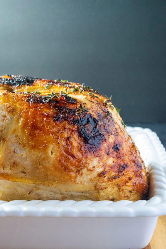 slow cooker turkey in a pan