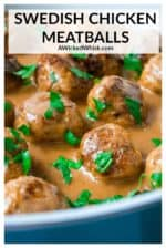 Swedish Chicken Meatballs are perfectly flavored baked chicken meatballs smothered in a savory creamy sour cream sauce and served over noodles. Perfect easy comfort food! | A Wicked Whisk #swedishchickenmeatballs #groundchickenswedishmeatballs #swedishmeatballswithgroundchicken #swedishmeatballs #swedishmeatballseasy #swedishmeatballseasyeggnoodles #swedishmeatballseasygroundchicken #homemadeswedishmeatballs #homemadeswedishmeatballssourcream #bakedswedishmeatballs #bakedchickenmeatballs