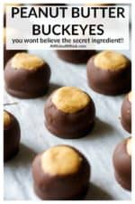 This classic Peanut Butter Buckeye recipe are no-bake creamy peanut butter balls dipped in chocolate, only require a few ingredients and come together in a matter of minutes. No Christmas cookie tray is complete unless it is overflowing with homemade buckeye candies! #buckeyes #peanutbutterbuckeyes #buckeyeballs #buckeyesrecipe #buckeyeseasy #buckeyeseasypeanutbutterballs #christmasbuckeyes #christmasbuckeyesrecipe #buckeyescandy #buckeyesrecipeeasy #buckeyesrecipeeasyholidays