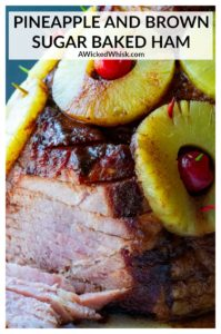 Serve up the perfect meal with this Pineapple and Brown Sugar Baked Ham! Coated in a homemade brown sugar spice rub and covered with pineapple rings, this spiral cut store bought ham is transformed into the ultimate caramelized, moist, juicy ham perfect for holiday dinners like Easter, Thanksgiving and Christmas. | A Wicked Whisk #bakedham #bakedhamoven #bakedhambrownsugar #bakedhamovenpineapple #bakedhamovenbrownsugarandpineapple #bakedhambrownsugarandpineapple