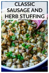This Traditional Sausage and Herb Stuffing is a family favorite for the holidays! Made with seasoned pork sausage, store-bought stuffing cubes, vegetable and herbs, this easy stuffing recipe is the perfect savory side dish for your holiday meal. #traditionalsausagestuffing #sausagestuffing #sausagestuffingthanksgiving #easysausagestuffing #jimmydeansausagestuffing #sausagestuffingpepperidgefarm #sage sausage stuffing #bestsausagestuffingthanksgiving #sausagestuffingrecipe
