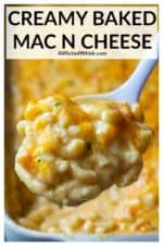 This Creamy Baked Mac and Cheese recipe is the ultimate family favorite comfort food dish.  Made with a sharp homemade cheese sauce, every day spices and tender elbow macaroni pasta, this Creamy Mac and Cheese is everyone's homemade macaroni and cheese favorite! | A Wicked Whisk #bakedmacncheese #bakedmacncheeserecipe #easybakedmacncheese #creamybakedmacncheese #homemadebakedmacncheese #bestbakedmacncheese #macncheese #macaroniandcheese #creamymacaroniandcheese #bestmacaroniandcheese