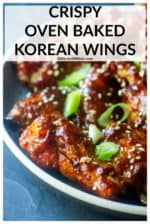 Crispy Oven Baked Korean Chicken Wings are sweet, savory & spicy! Baked crisp in the oven (hello!.. secret ingredient) and tossed in an intensely flavored Asian-inspired Korean gochujang sauce, these baked chicken wings are always a favorite appetizer at any gathering and are absolutely addictive! #koreanchickenwings #koreanchickenwingsbaked #koreanchickenwingsrecipe #koreanchickenwingscrispy #crispyovenbakedchickenwings #crispyovenbakedchickenwingsthesecret #gamedaywingsbaked