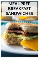 Meal Prep Breakfast Sandwiches are the perfect make-ahead breakfast sandwiches you have been waiting for! Made with baked eggs, bacon, sausage or Canadian bacon, topped with cheese and served up on a toasted English Muffin, these freeze beautifully so all you have to do is grab and go! #breakfastsandwich #makeaheadbreakfastsandwich #breakfastsandwichfreezer #breakfastsandwichfreezermakeahead #breakfastsandwichforacrowd #breakfastsandwichmealprep #breakfastsandwichmealprepbakedeggs