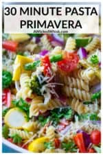 Pasta Primavera is an delicious way to eat your veggies and it's ready is just 30 minutes! Made with rigatoni pasta, fresh vegetables and topped with a squeeze of lemon and Parmesan cheese, this easy Pasta Primevara recipe is a light pasta dish packed with tons of vegetable and tons of flavor. #pastaprimavera #pastaprimaverahealthy #easypastaprimavera #vegetablepastaprimavera #bestpastaprimavera #pastaprimaveranocream #pastaprimaverahealthyeasyrecipes #meatlessmondayrecipespasta