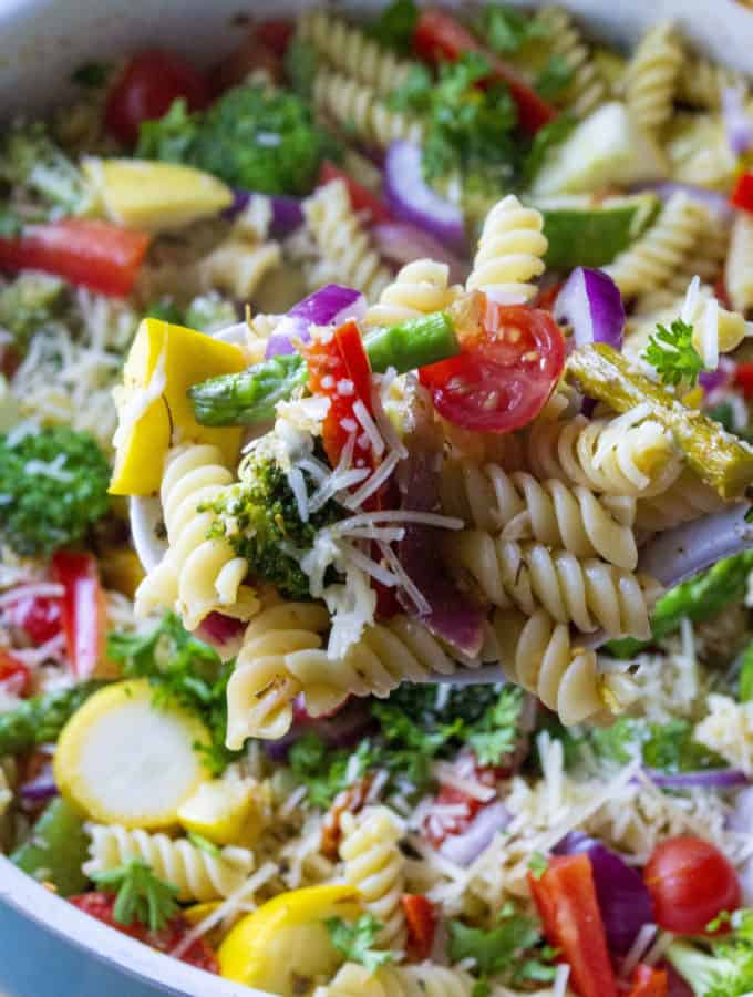 Pasta Primavera on a serving spoon