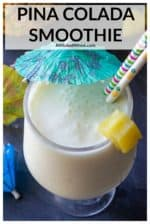 This Pina Colada Smoothie is thick, creamy and made with just 3 ingredients!! Made with coconut Greek yogurt, fresh pineapple and coconut milk, this tropical smoothie recipe is guaranteed the best way to start the day. #pinacoladasmoothie #pinacoladasmoothiehealthy #pinacoladasmoothienonalcoholic #pinacoladasmoothienonalcoholicgreekyogurt #pinacoladasmoothieprotein #pinacoladasmoothiebreakfast #pinacoladasmoothiewithyogurt #pinacoladasmoothierecipehealthy