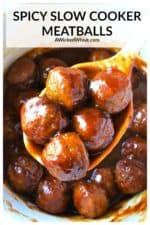These spicy slow cooker meatballs are the easiest party appetizer to make and perfect for cocktail parties, football food and feeding hungry crowds. Made with frozen meatballs, soy sauce, ketchup, sriracha, brown sugar, honey and garlic, these crockpot meatballs are slow simmered to perfection and come out tender and juicy every time. #slowcookermeatballs #crockpotmeatballs #slowcookermeatballsfrozen #slowcookermeatballsappetizers #slowcookermeatballsasian #slowcookermeatballsbbq