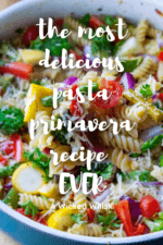 This easy Pasta Primavera recipe is the BEST way to eat your veggies and it's ready is just 30 minutes! Made with rigatoni pasta, fresh bite-size vegetables and topped with a squeeze of lemon and Parmesan cheese, this Pasta Primavera recipe is a light pasta dish packed with tons of vegetables and tons of flavor. #pastaprimavera #pastaprimaverahealthy #easypastaprimavera #vegetablepastaprimavera #bestpastaprimavera #pastaprimaveranocream #meatlessmeals #meatlessmealshealthy