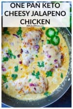 Tender seasoned chicken seared up then simmered in a spicy jalapeno sauce and smothered in melted cheese is ready in just 30 minutes! The ultimate one pan low carb, keto meal, this cheesy jalapeno chicken is perfect to serve over zucchini noodles, cauliflower rice or just on it's own. #cheesyjalapenochicken #jalapenochicken #jalapenochickenketo #cheesyjalapenochickenketo #cheesyjalapenochickencreamcheeses #lowcarbsmotheredjalapenochicken #ketojalapenochicken #ketojalapenochickenlowcarb