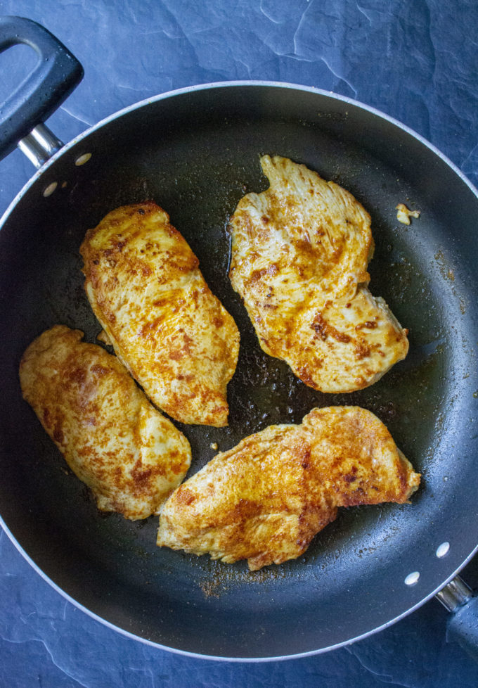 seared chicken in a pan