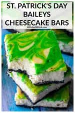St.Patrick's Day Baileys Cheesecake Bars are the perfect green desserts to celebrate St.Patrick's Day all year long. Creamy swirled green cheesecake made with Baileys Irish Cream, these St.Patrick's Day Cheesecake Bars are the ultimate swirl cheesecake bars. #stpatricksdaycheesecakebars #stpatricksdaydesserts #greenfood #greenfoodforstpatricksday #greendesserts #baileyscheesecake #baileyscheesecakebars #greencheesecake #stpatricksdaydessertseasy