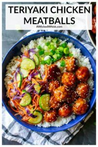 Juicy, tender oven baked chicken meatballs tossed in a super easy, sweet and spicy homemade teriyaki sauce! The perfect easy dinner recipe, serve these teriyaki meatballs up with rice and vegetables or toss them in your slow cooker for the ultimate party appetizer. #teriyakichickenmeatballs #teriyakichickenmeatballsdinner #teriyakichickenmeatballsbaked #teriyakichickenmeatballseasy #teriyakimeatballsandrice #chickenmeatballs #chickenteriyakimeatballs #teriyakimeatballseasy