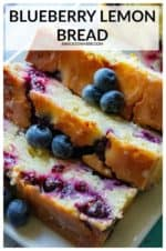 Blueberry Lemon Bread is easy to make, super moist and bursting with fresh blueberries and refreshing lemon flavor. Topped off with a tangy lemon glaze, this Blueberry Lemon Bread is perfect for both breakfast and dessert! #blueberrylemonbread #blueberrylemonbreadwithglaze #blueberrylemonbreadsourcream #blueberrylemonbreadmoist