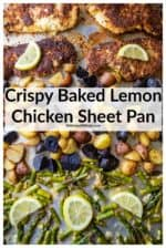 Crispy Baked Lemon Chicken and Veggies is the ultimate easy sheet pan dinner! Crispy Parmesan coated lemon chicken served up with seasoned potatoes and asparagus smothered in a garlic butter sauce. The perfect must-have easy dinner recipe! #sheetpanlemonparmesangarlicchicken #sheetpanlemonparmesangarlicchickenandveggies #lemonchicken #bakedlemonchicken #bakedlemonchickenandpotatoes #bakedlemonchickenwithasparagus #lemonchickenparmesan