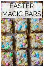 Easter Magic Cookie Bars are a buttery graham cracker crust layered with white chocolate chips, coconut flakes, walnuts and butterscotch chips then topped off with a sprinkling of pastel colored Easter M&Ms. This perfectly oooey gooey Easter Magic Bar is the ultimate easy holiday dessert! #eastermagiccookiebars #eastermagicbars #m&meastermagiccookiebars #easterdessertmagicbars #eastermagicbarsgrahamcrackers #easterm&mbars #eastercookiebars