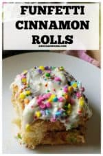 Funfetti Cinnamon Rolls are tender, fluffy cinnamon rolls made with rainbow sprinkles, slathered in homemade cream cheese frosting and topped with confetti sprinkles which makes this classic cinnamon rolls recipe a fun and tasty treat. #funfetticinnamonrolls #funfetticinnamonrollseasy #cinnamonrolls #eastercinnamonrolls #easterbrunchideasfood #easterbrunchideasfoodcinnamonrolls