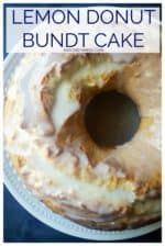 Lemon Donut Bundt Cake is the perfect combination of donut and cake! This easy recipe is basically a mega-sized lemon donut made in a bundt pan then slathered in a tangy lemon glaze. Perfect to serve up as breakfast or an easy lemon dessert! #lemonbundtcake #lemonbundtcakewithglaze #donutbundtcake #lemonbundtcakefromscratch #moistlemonbundtcake #moistlemonbundtcakewithsourcream #easterbundtcake #donutbundtcakesourcream