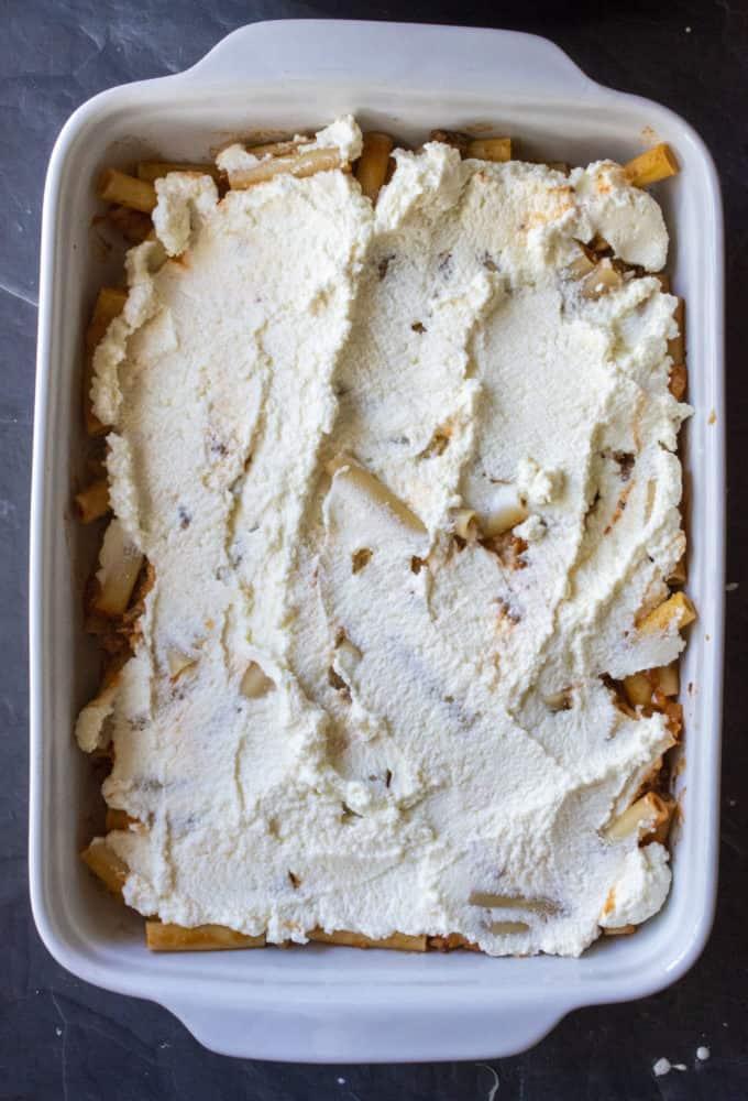baked ziti with ricotta layer