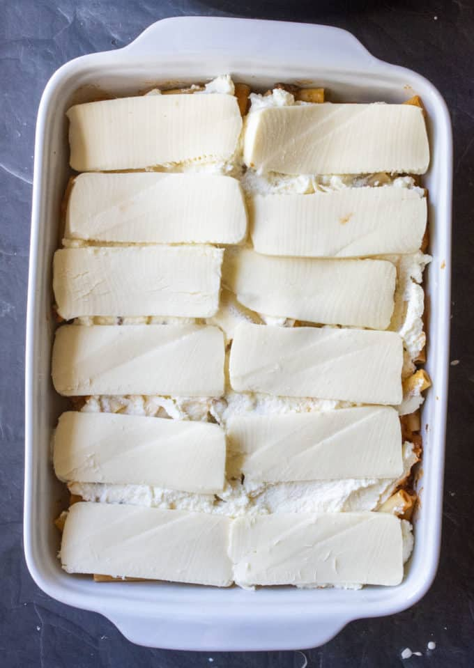 baked ziti covered in mozzarella cheese