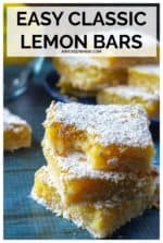 Classic Lemon Bars are tart, refreshing and simply the BEST lemon squares! Made up of thick tangy lemon curd sitting on a buttery shortbread crust then topped with tons of powdered sugar, these easy lemon bars are irresistible! #lemonbars #lemonbarseasy #bestlemonbarsever #classiclemonbars #lemonbarsrecipeshortbreadcrust #classiclemonbarsrecipe #lemonsquaresrecipeeasy #classiclemonbarsshortbreadcrust