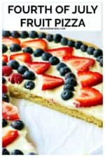 Fourth of July Fruit Pizza is an easy fruit pizza that tastes amazing and will be your patriotic dessert. Made with a Pillsbury sugar cookie crust, fresh fruit, powdered sugar, lime and cream cheese, this easy red white and blue dessert is the perfect patriotic fruit pizza to show off your American pride! #fourthofjulyfruitpizza #fourthofjulyfruitpizzasugarcookies #patrioticfruitpizza #redwhiteandbluefruitpizza #redwhiteandbluedessert #easyredwhiteandbluedesserts