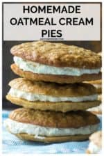 These Homemade Oatmeal Cream Pies are soft, chewy oatmeal cookies sandwiched around sweet marshmallow creme filling making these the BEST grown up version of your favorite childhood snack. Sorry Little Debbie! #oatmealcreampies #oatmealcreampiecookies #littledebbieoatmealcreampies #copycatlittledebbieoatmealcerampies #oatmealcreampiesmarshmallowfluff #homemadeoatmealcreampies #besthomemadeoatmealcreampies