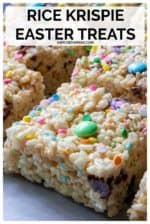 Rice Krispie Easter Treats are the perfect no bake treat to celebrate Springtime. Easy to make with tons of sprinkles and Easter M&Ms, these Rice Krispies treats are everyone's favorite Easter treats! #ricekrispieeastertreats #ricekrispieeastertreatsforkids #ricekrispietreats #ricekrispietreatseaster #ricekrispietreatseasterideas #homemadericekrispietreatideas