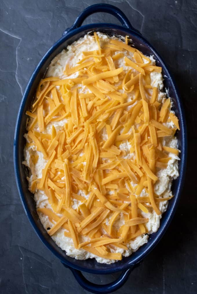 casserole sprinkled with cheese