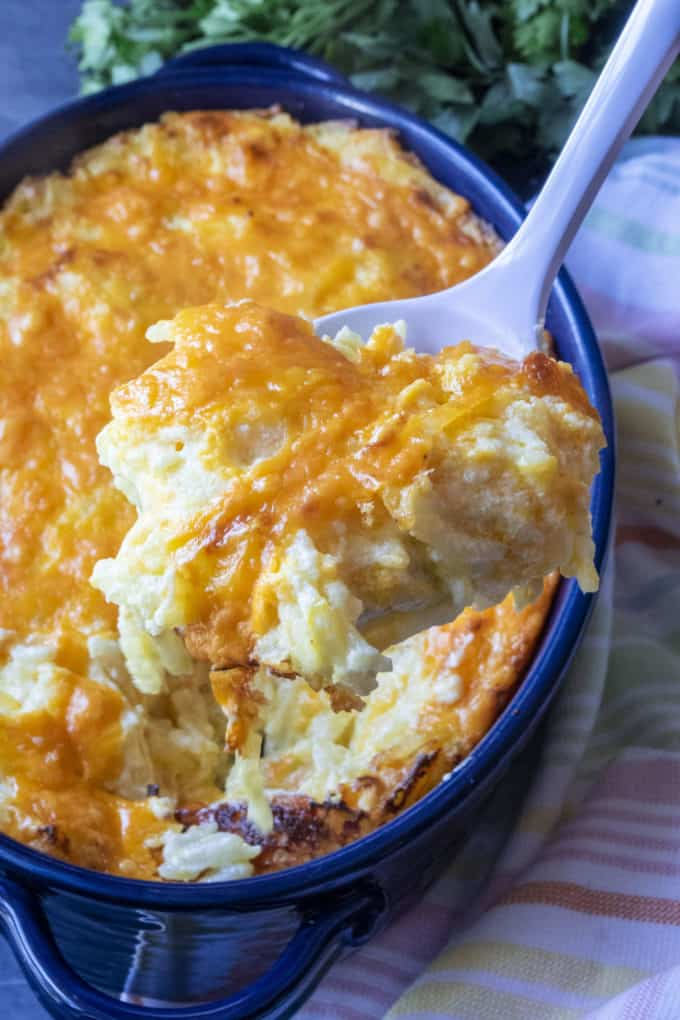 spoon of hash brown casserole