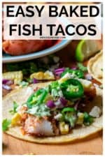 Easy Baked Fish Tacos are easy to prepare and loaded with fresh ingredients! Made with fresh cod fish, a tangy red cabbage slaw and a creamy garlic cilantro sauce, these baked fish tacos are perfect for Taco Tuesday or any day! #bakedfishtacos #fishtacos #fishtacoswithcabbageslaw #bakedfishtacoswithcabbageslaw #fishtacosauce #easyfishtacos #easyfish tacoswithcabbageslawhealthy #easyfishtacossimple #bakedfishtacoscod #bakedfishtacoswithcabbageslaw