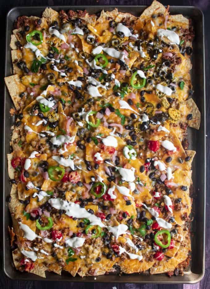 oven baked sheet pan nachos