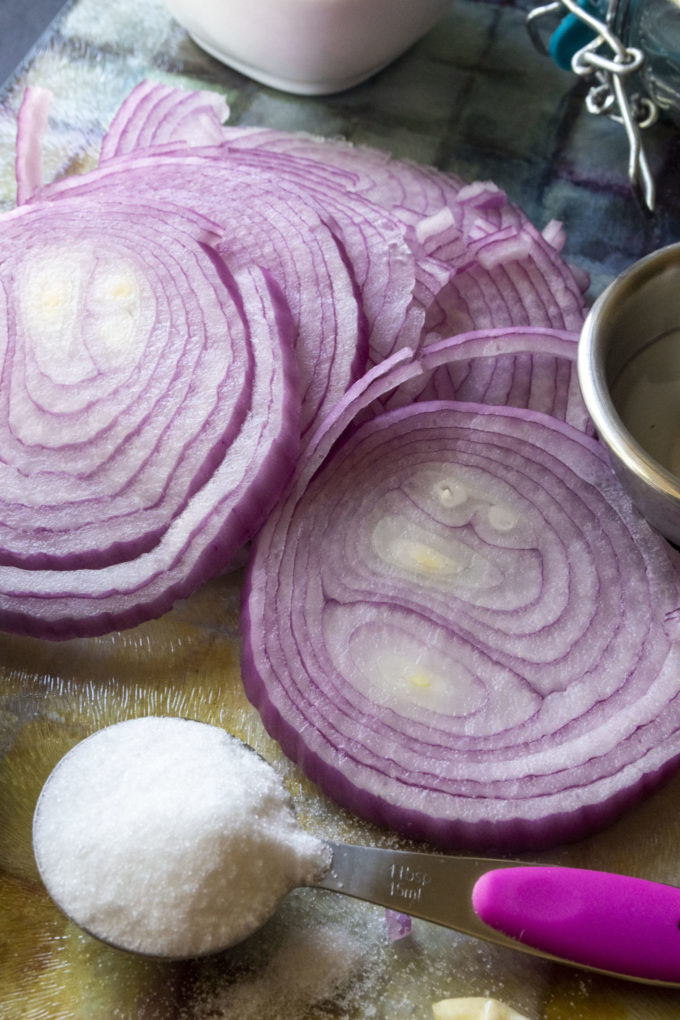red onions sliced