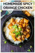 Homemade Spicy Orange Chicken is better than takeout and the BEST easy orange chicken recipe! Skillet cooked chicken coated in a sticky, tangy, spicy orange marmalade sauce and ready to serve in just 30 minutes makes this Chinese orange chicken a meal the whole family will love. #orangechickenrecipeeasyskillet #easyhomemadeorangechicken #homemadeorangechickensauce #easyskilletorangechicken #easyspicyorangechicken #orangechickenorangemarmalade