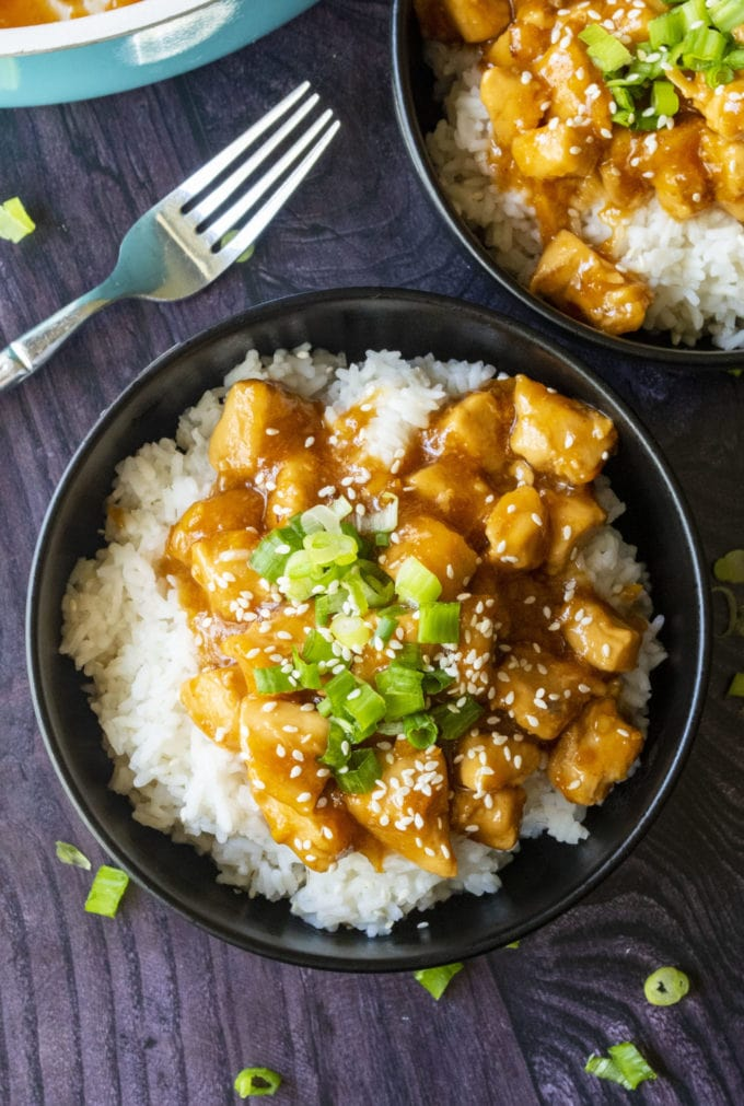homemade orange chicken in a bowl