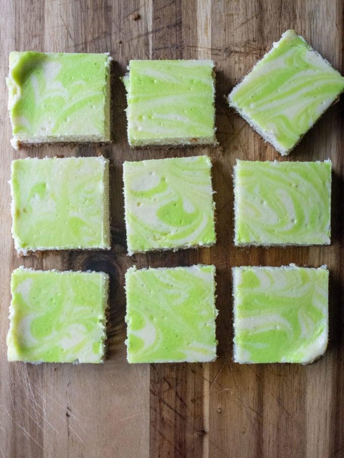 key lime cheesecake bars cut into squares