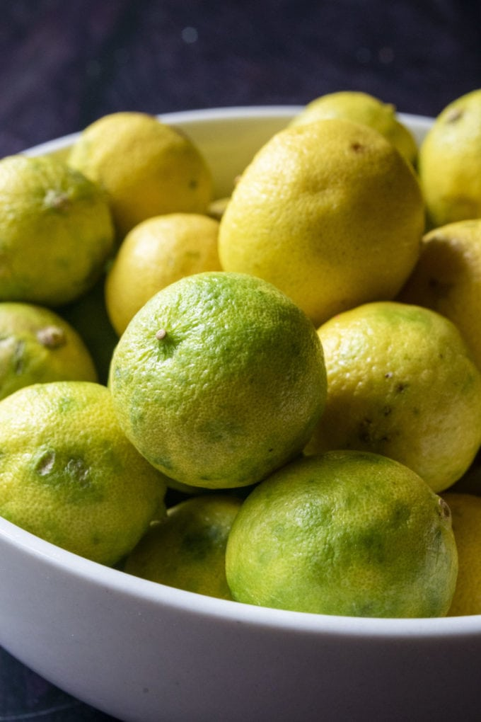 key limes in a bowl