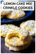 Lemon Cake Mix Crinkle Cookies are soft, melt in your mouth simple lemon cookies and easy to make with only five ingredients! Made with butter, eggs, lemon extract, powdered sugar and a box of lemon cake mix, these cake mix cookies are the BEST lemon crinkle cookies to share with family and friends! #lemoncrinklecookies #lemoncrinklecookiesrecipecakemixes #lemoncrinklecookiescakemix #lemoncrinklecookiesrecipe #lemoncakemixcookies #softlemoncookieseasy