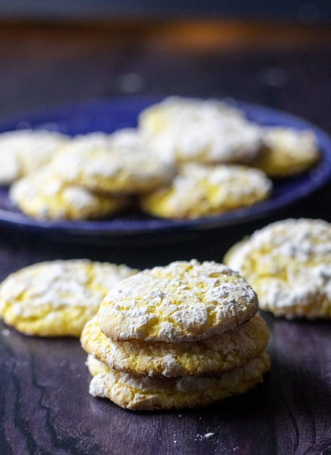 lemon cake mix cookies stacked