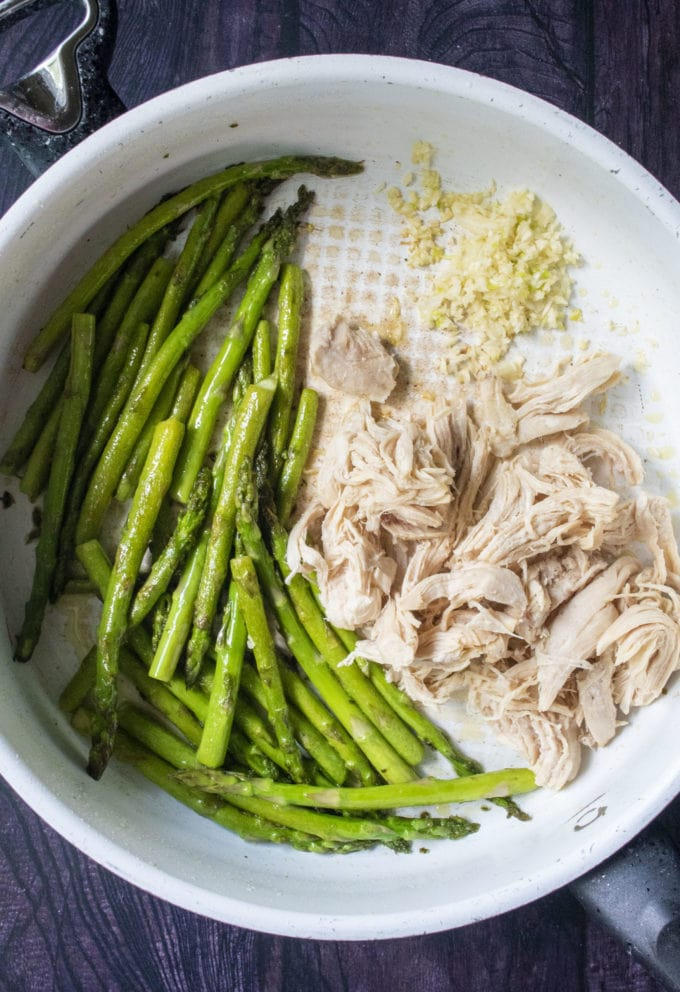 asparagus chicken and garlic in a pan