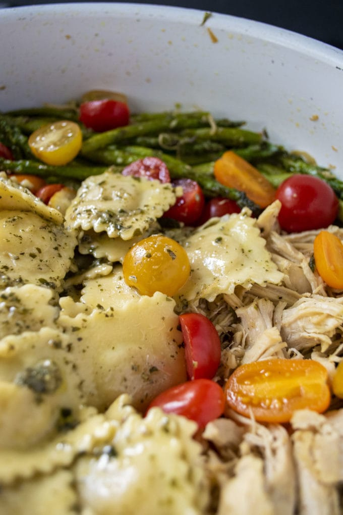 skillet of ravioli and veggies