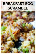 This easy Breakfast Egg Scramble is an easy, stick to your bones, tasty meal perfect for weekend brunches, holiday mornings and even dinner! Made with scrambled eggs, bacon, cheese, onion and refrigerated shredded hash brown potatoes, this scrambler breakfast is hearty, delicious and perfect comfort food! #breakfastscramble #breakfastscramblepotatoes #breakfastscramblepotatoesbacon #easybreakfastscramble #eggscramblerecipes